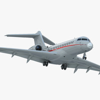 Business Jet Global 6000 Rigged 3D Model