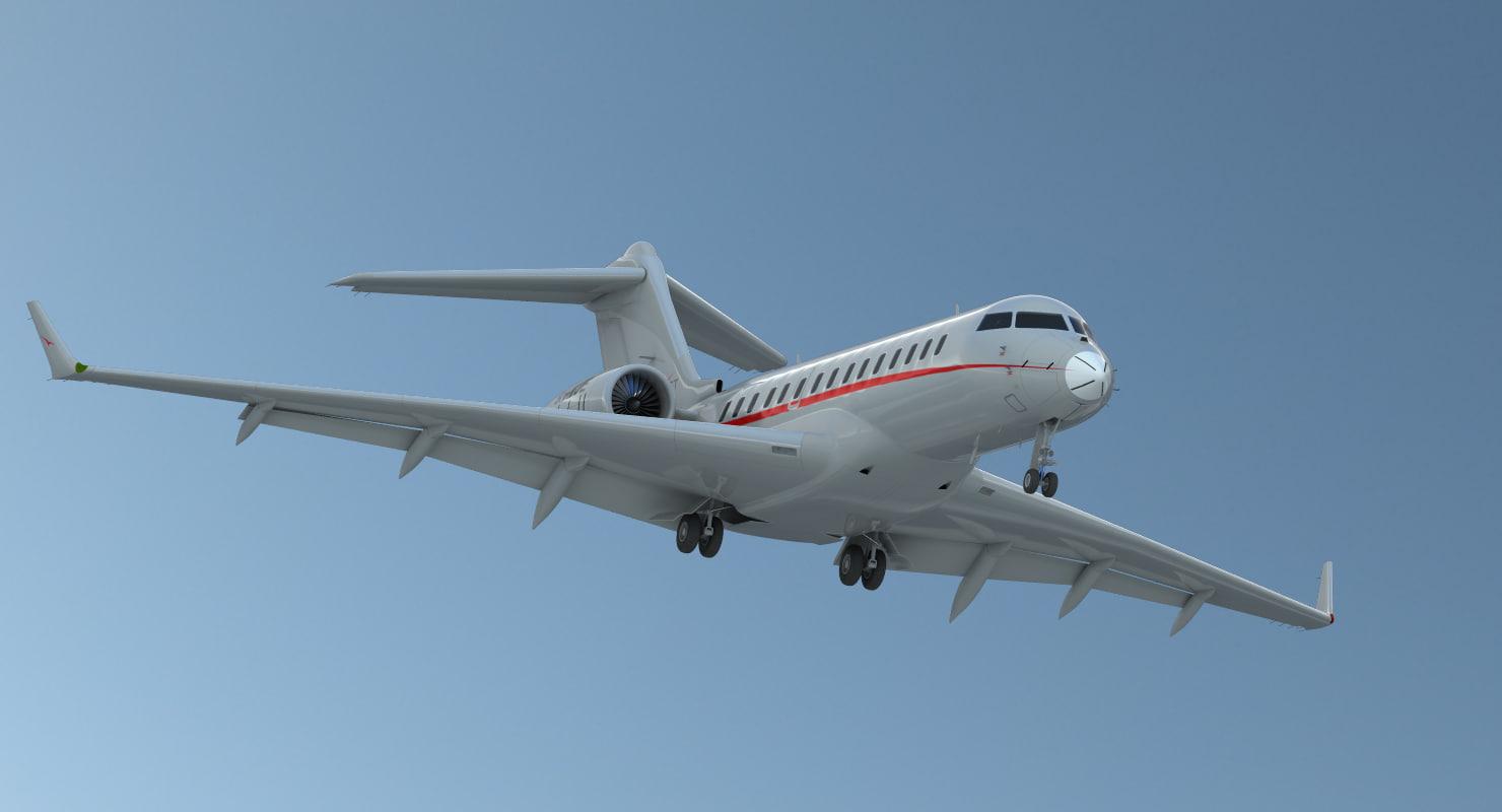 3d model business jet global 6000
