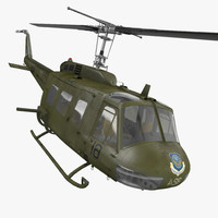 Military Utility Helicopter Bell UH-1 Iroquois Rigged 3D Model