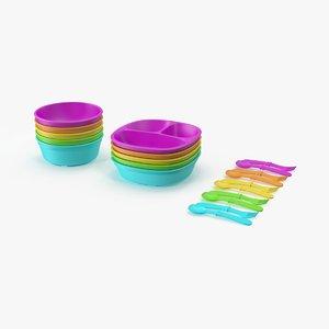 3d baby dishware set 01 model