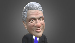 3d model of bill clinton caricature