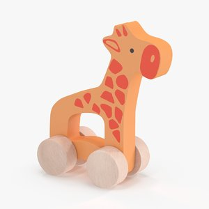 3d model baby-push-and-pull-animals---giraffe