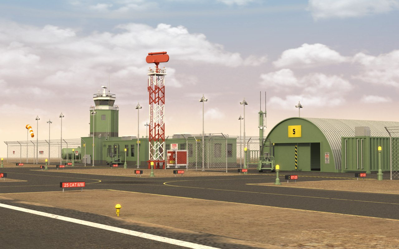 3d military airfield model