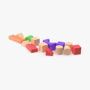 3d model baby building blocks scattered