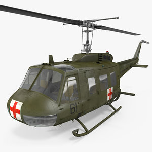 bell uh-1 iroquois medevac 3d model
