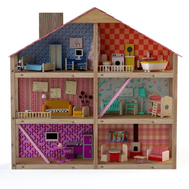 house doll dollhouse obj