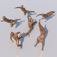 different low-poly athletic humans 3d model
