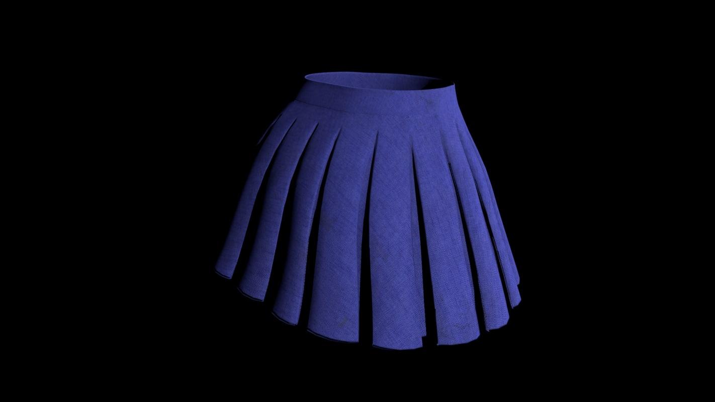 3d blue skirt