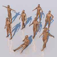 3d model different low-poly humans