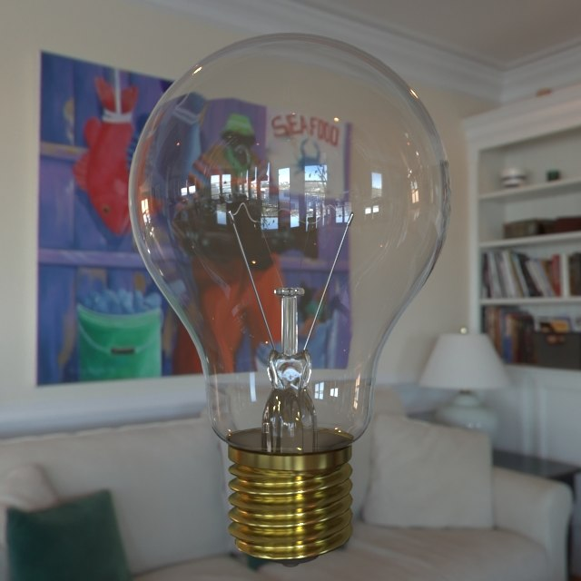 3d model of incandescent light bulb