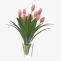 flower tulip vase 3d max