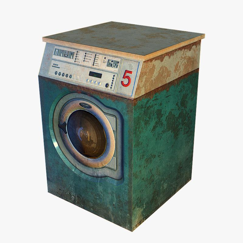 3d model old washing machine