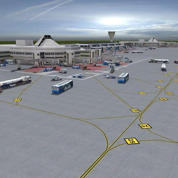 3d airport vehicles