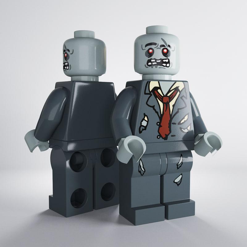 3d model zombie minifigure