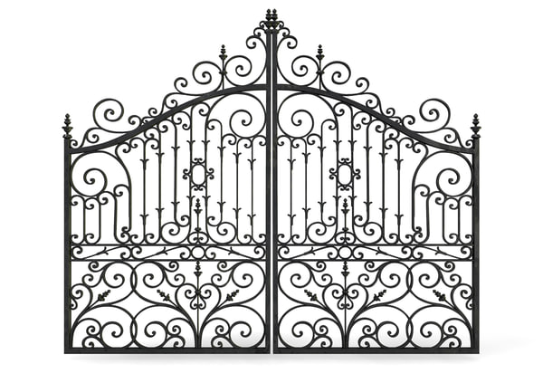ornate cast iron metal gates 3d c4d