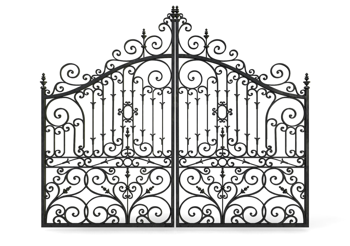 ornate cast iron metal gates 3d c4d