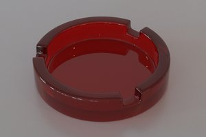 red glass ashtray color 3d model