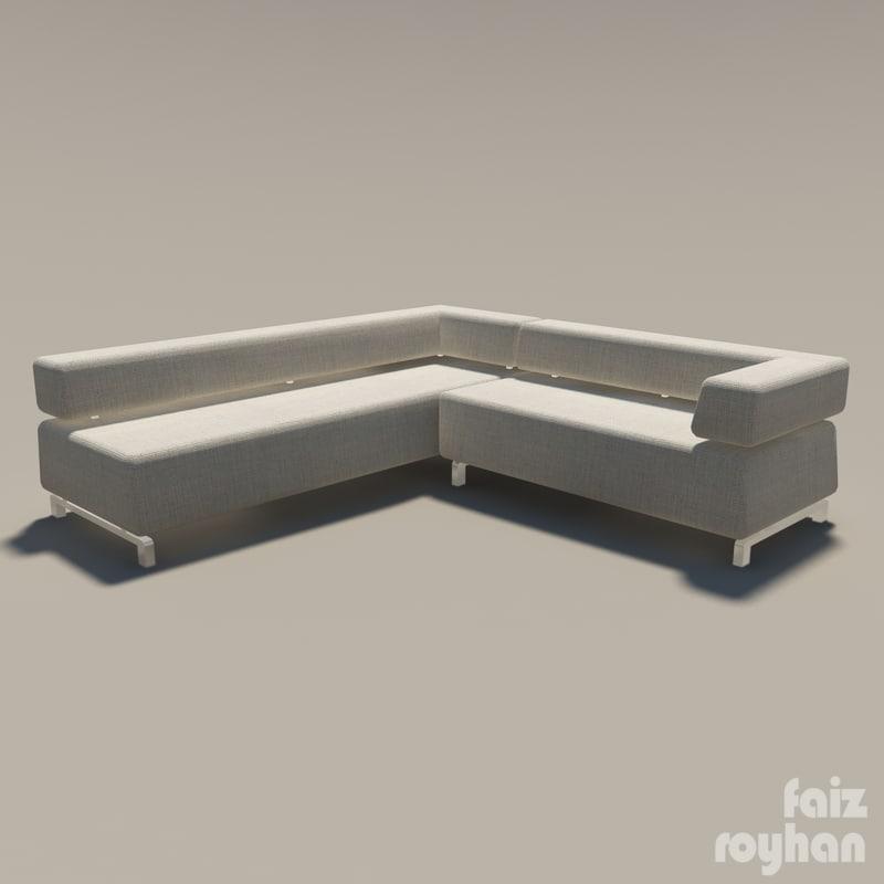 sofa minimalist 3d 3ds