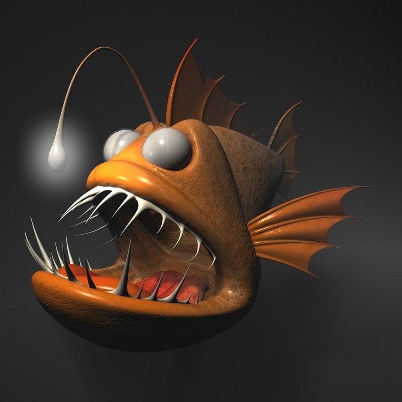 3d model cartoon anglerfish rigged animation