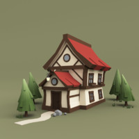 3d medium house trees model