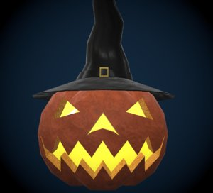 free fbx model halloween pumpkin witch hat