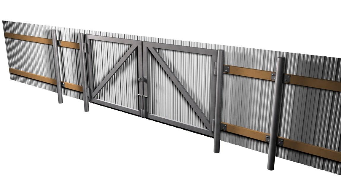3d model metal fence gates