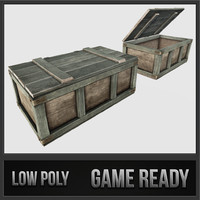 wooden loot crate 01 3d model