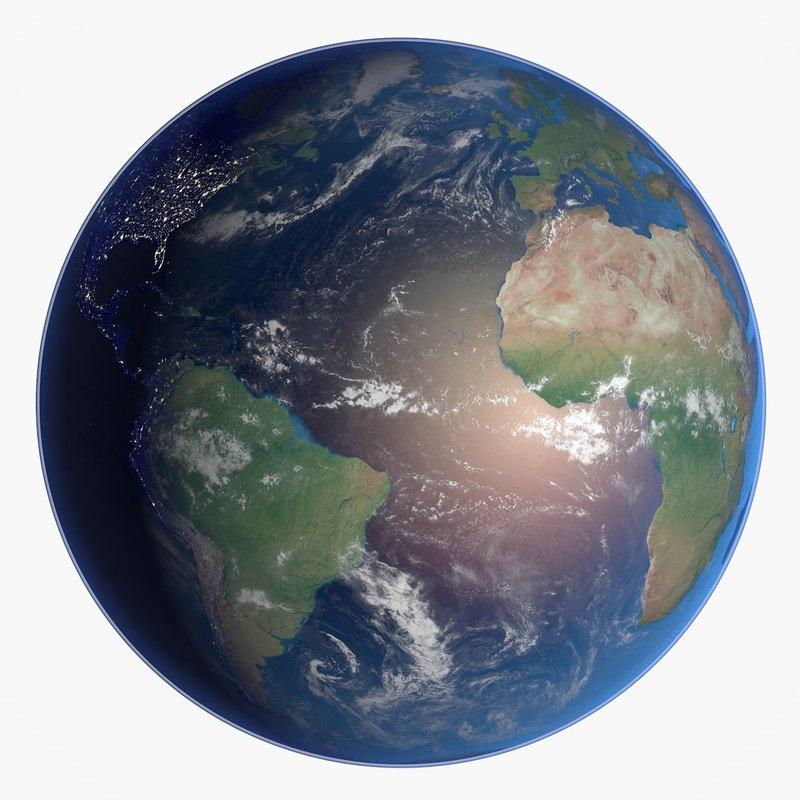 3d earth night model