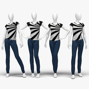 3d model set female jeans