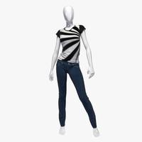 3d model female jeans