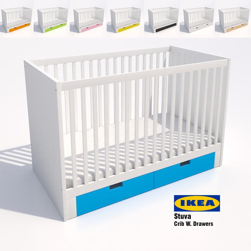 3d model ikea stuva crib