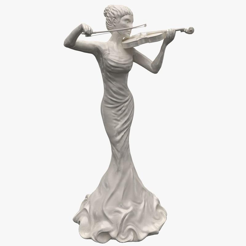 woman statue violin statuettes 3d model