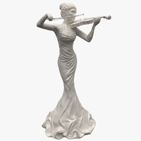 woman statue violin statuettes 3d model