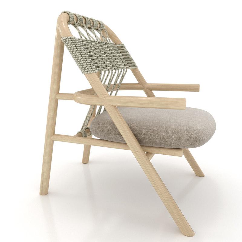 wood unam chair 3d model