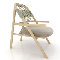 wood unam chair 3d model