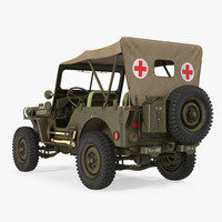 Jeep Willys 1944 Convertible Ambulance 3D Model
