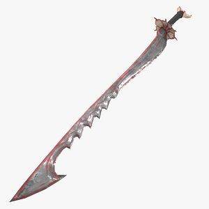 3d bloody bone sword model