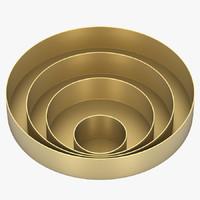 orbit trays small brass 3d model