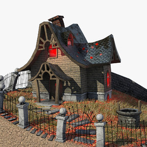 cartoon house fence 3d model