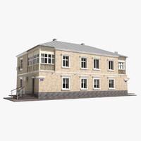 3d model building storey 1960s soviet