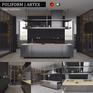 3d kitchen poliform varenna artex model