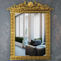 Mirror with classic gold ornaments