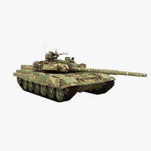 3d tank t-90 rigged model