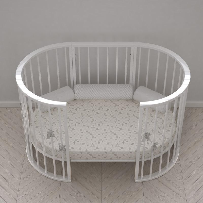 3d model stokke crib white version
