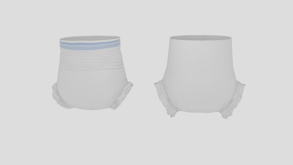 3d model diaper crease