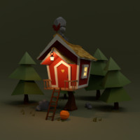 scenerio house trees 3d 3ds