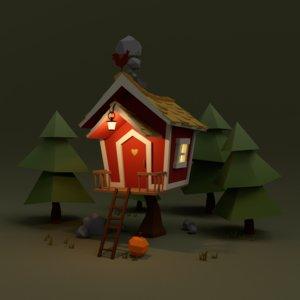 scenerio house trees 3d 3ds