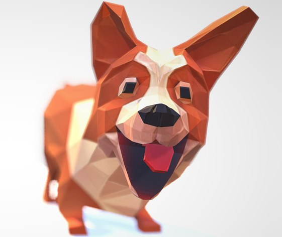 3d ready corgi dog model