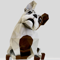 3d model ready french bulldog dog biped