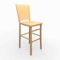 classic wooden bar stool 3d model